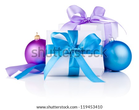 Two White boxs tied with a satin ribbon bow, Purple and blue Christmas balls Isolated on white background