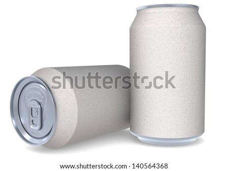Two white cans - stock photo