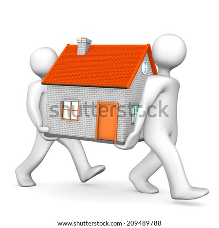 Two white cartoon character carries a house. White background. - stock photo