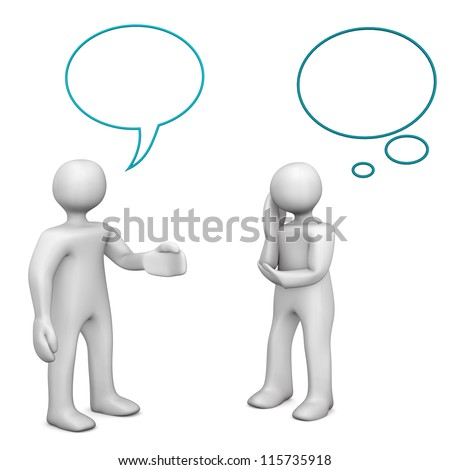 Two white cartoon characters during a dialog, isolated on white. - stock photo