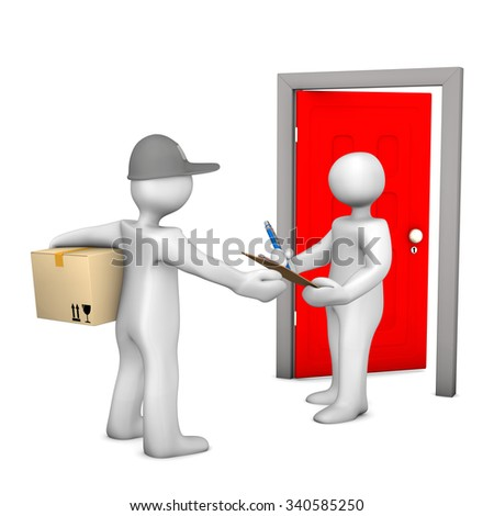 Two white cartoon characters with parcel and door. White background. - stock photo