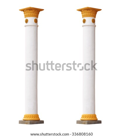 two white columns in the classical architectural style isolated on white background - stock photo