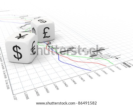 Two white currency dice on stock chart - stock photo