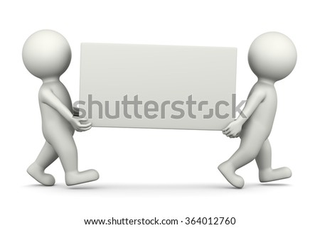 Two White 3D Characters Carrying a Blank Bill Illustration on White Background