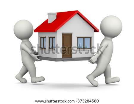Two White 3D Characters Carrying House 3D Illustration on White Background, Moving Concept - stock photo