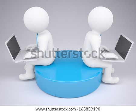Two white 3d man sitting at laptops. Render on a gray background