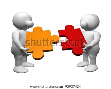 Two white 3D men adding a red and orange piece of puzzle together