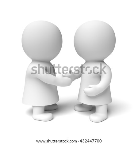 two white 3d people wearing gowns shaking hands (3D illustration isolated on a white background)