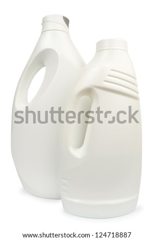 two white detergent plastic bottle isolated on white background