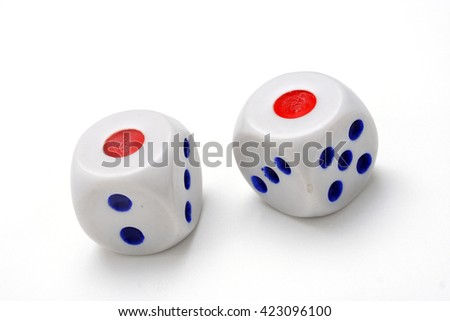 Two white dice isolated