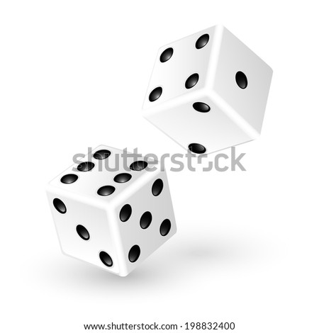 Two white dice isolated on white background. Raster copy - stock photo