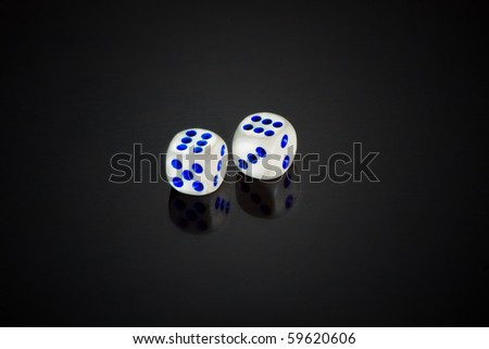 Two white dices - stock photo
