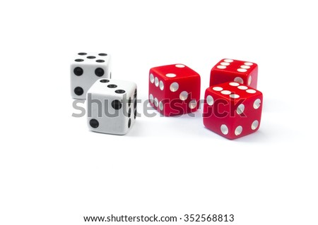 two white dices and three red dices