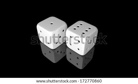 Two white dices isolated on black background - stock photo
