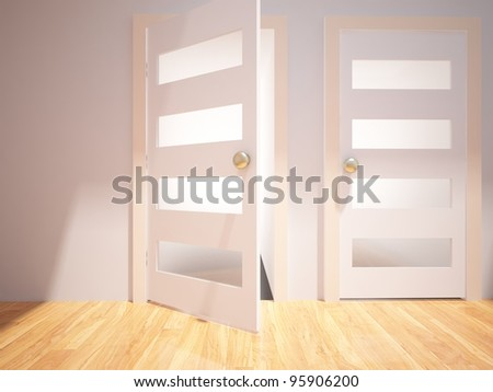 two white doors in the empty room - stock photo
