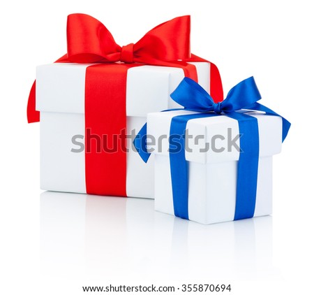 Two white gift box tied red and blue ribbon Isolated on white background - stock photo