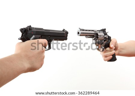 two white hands hold gun isolated on white background - stock photo