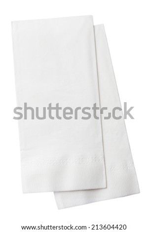 Two White Paper Napkins Isolated on White Background - stock photo