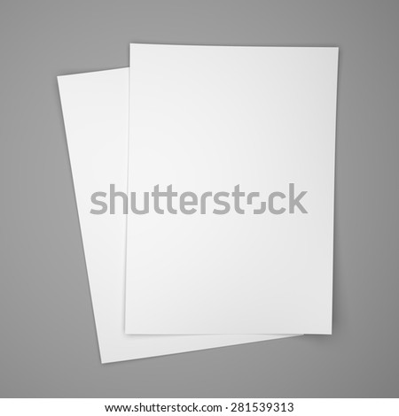 Two white paper sheets on gray background