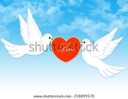 Two white pigeons holding a red heart with love text inside on blue cloudy sky background - stock photo
