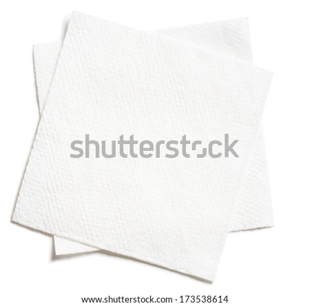 two white square paper napkins isolated - stock photo