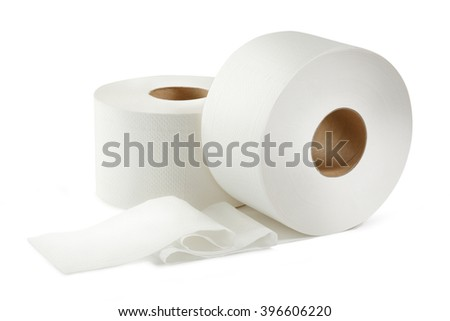 Two white toilet paper rolls in closeup - stock photo