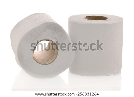 Two white toilet paper rolls isolated on white background.