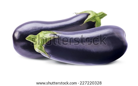 Two whole aubergines eggplants isolated on white background as package design element - stock photo