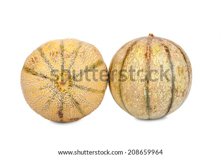 Two whole Galia Charentais Melons isolated on white Background - stock photo