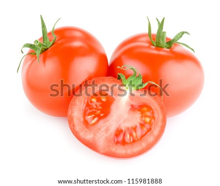 Two whole red tomatoes and one half Isolated on white background - stock photo