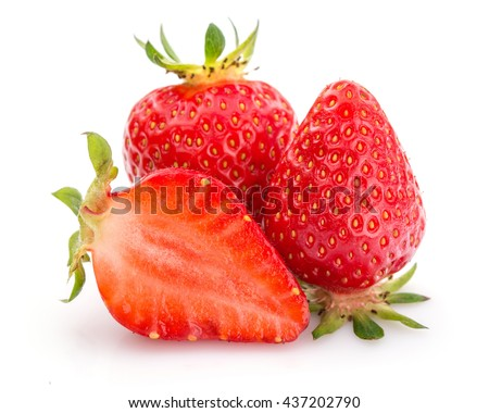 Two whole strawberries and one half