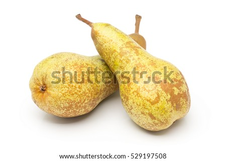 "Two whole, uncut ""abate fetel"" pears over white background"