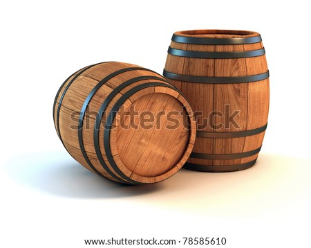 two wine barrels isolated on the white background 3d illustration - stock photo