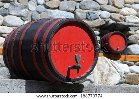 Two wine casks in traditional restaurant in Bulgaria - stock photo