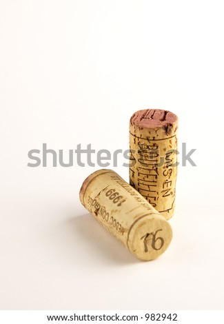 two wine corks - stock photo