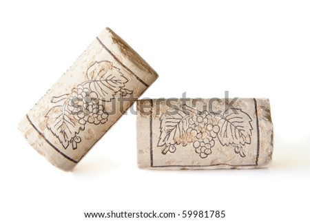 Two wine corks isolated on a white background - stock photo