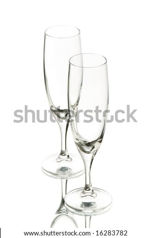 Two wine glasses isolated on the white