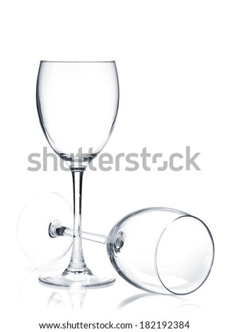 Two wine glasses. Isolated on white background - stock photo