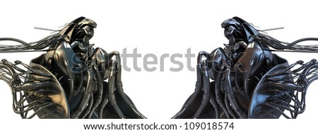 Two wired Archangels / Steel futuristic wired angels in steam punk style - stock photo