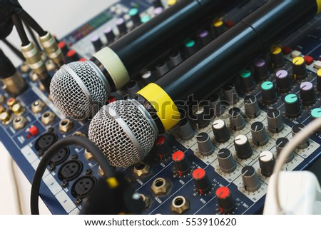 Two wireless microphones for host events on your DJ mixing console. equipment musician and entertainer.