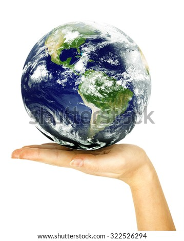Two woman hands protect earth on white background. Elements of this image furnished by NASA - stock photo