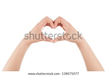 Two woman's hands are forming heart shape on white background.