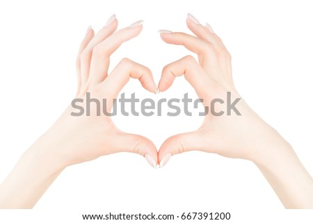Two womans' or girls' hands put together in the shape of a heart with fingers out, isolated
