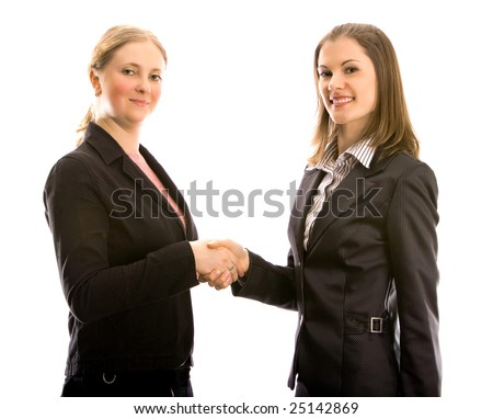 Two women at business meeting. Isolated on white