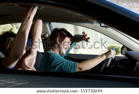 two women bracing for a car crash accident