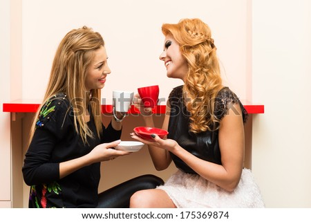 Two women chatting during a coffee break - stock photo