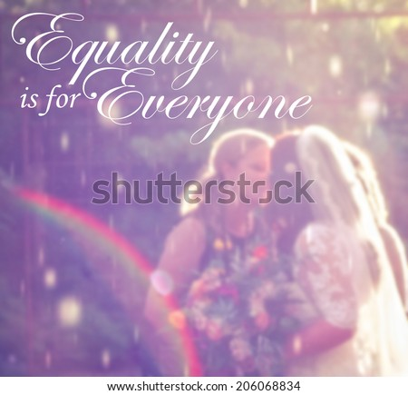 two women getting married in the rain (super soft image)  - stock photo