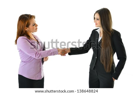 Two Women Handshake on a Deal - stock photo