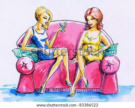Two women on a pink sofa, talking and drinking .Picture I have created myself with watercolors. - stock photo