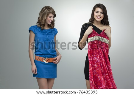 two women shopping flowers red dress - stock photo